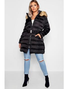Plus Belted Faux Fur Hooded Puffer Long Coat by Boohoo