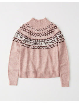 Intarsia Logo Mock Neck Sweater by Abercrombie & Fitch