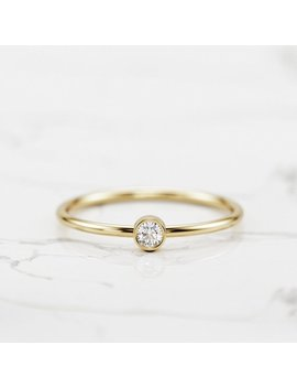 Petite Diamond Solitaire Ring / 14 K Or 18 K Dainty Diamond Ring / Small Diamond Ring / Thin Gold Band Ring / Bezel Setting Ring by Etsy