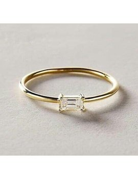 Natural Diamond Solid 18 K Gold Ring by Etsy