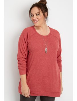 Plus Size Brushed Tulip Front Tunic Pullover by Maurices
