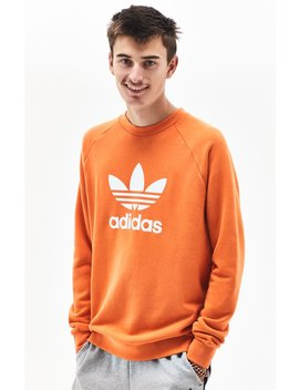 Adidas Trefoil Warm Up Orange Crew Neck Sweatshirt by Pacsun