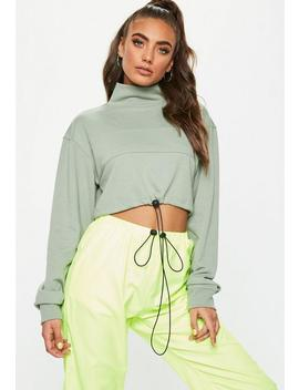Khaki High Neck Drawstring Cropped Hoodie by Missguided