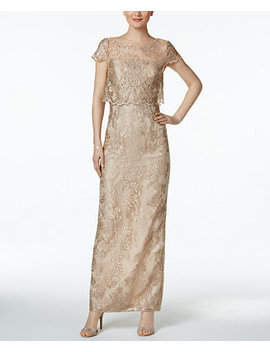 Petite Embroidered Mesh Popover Gown by Adrianna Papell
