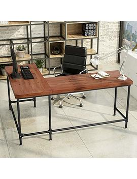 "Tribesigns L Shaped Desk, 67"" Industrial Reversible Corner Computer Office Desk Pc Laptop Study Table Workstation For Home Office, Solid Wood & Metal Pipe Legs (Brown) by Tribesigns"