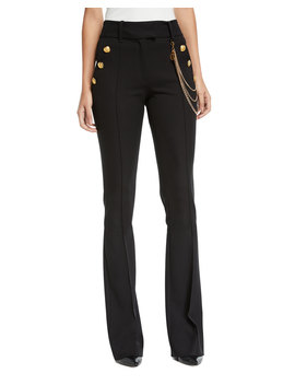 Alair High Rise Boot Cut Trousers With Chain Details by Veronica Beard