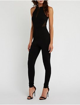 Mesh Cut Out Jumpsuit by Charlotte Russe