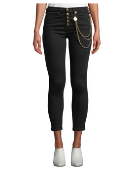 "Debbie 10"" Rise Skinny Jeans With Gold Chains by Veronica Beard"