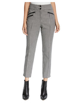 Felton High Rise Cropped Houndstooth Trousers by Veronica Beard