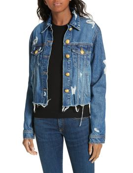 Cara Distressed Denim Jacket by Veronica Beard