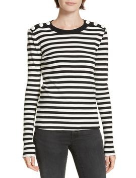 Mayer Button Shoulder Stripe Top by Veronica Beard