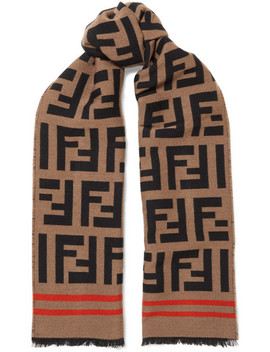 Wool And Silk Blend Jacquard Scarf by Fendi