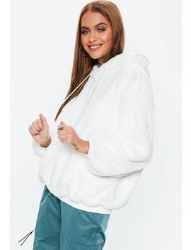 Cream Faux Fur Hoodie by Missguided