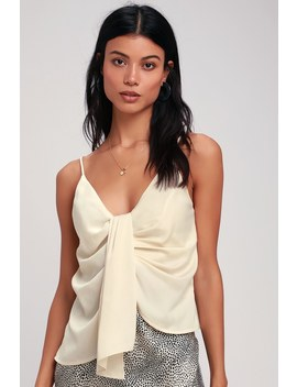 Gina Ivory Asymmetrical Ruched Tank Top by Astr The Label