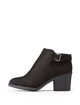 Bamboo Side Buckle Ankle Booties by Charlotte Russe