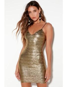 Leona Gold Bodycon Dress by Lulus