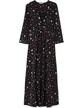 Nolana Twist Front Floral Print Silk Crepe De Chine Maxi Dress by Ganni