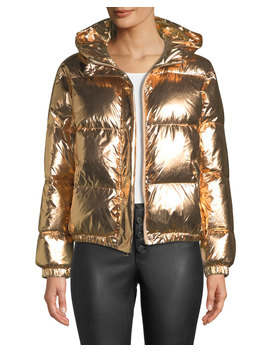 Durham Hooded Metallic Puffer Jacket by Alice + Olivia