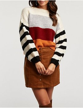 Colorblock Striped Cropped Sweater by Charlotte Russe