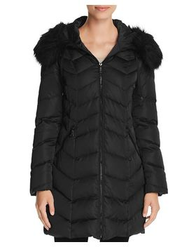 Gwen Faux Fur Trim Quilted Puffer Coat by T Tahari