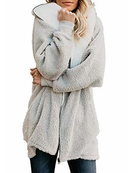 Yanekop Women Sherpa Fleece Zip Up Hooded Cardigan Jacket Open Front Pockets by Yanekop