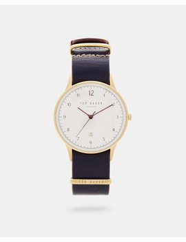 Stab Stitch Leather Strap Watch by Ted Baker