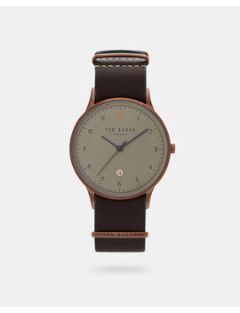 Stitch Detail Leather Strap Watch by Ted Baker