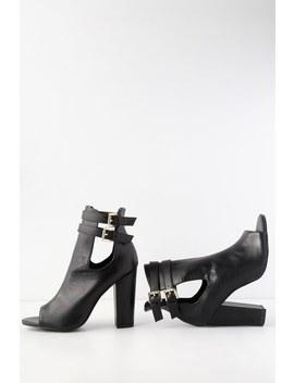 Taye Black Peep Toe High Heel Booties by Lulu's