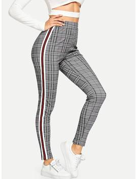Waist Elastic Plaid Pants by Shein