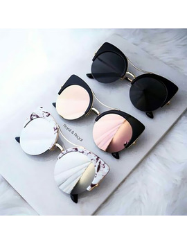 Stylish Female Brand Designer Round Oversized Cat Eye Classic Pink Mirror Cateye Sunglasses Women Party Vintage Lady Sun Glasses by Candis Gy