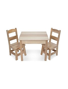 Melissa & Doug Solid Wood Table And 2 Chairs Set   Light Finish Furniture For Playroom by Melissa & Doug