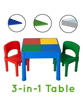 Play Platoon Kids Activity Table Set   3 In 1 Water Table, Craft Table And Building Brick Table With Storage   Includes 2 Chairs And 25 Jumbo Bricks   Primary Colors by Play Platoon