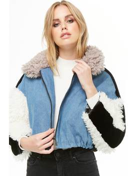 Shaci Faux Shearling & Fur Cropped Denim Jacket by Forever 21