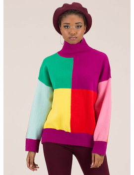 Box Of Tricks Colorblock Knit Sweater by Go Jane