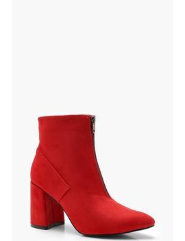 Zip Front Block Heel Shoe Boots by Boohoo