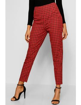 Tartan Print Tapered Trouser by Boohoo