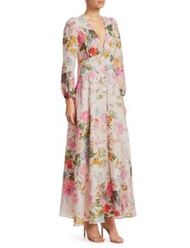 Heathers Floral Linen Maxi Dress by Zimmermann