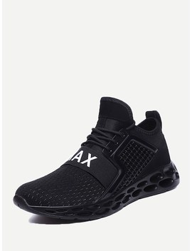 Men Textured Embossed Mesh Sneakers by Sheinside