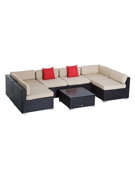 Outsunny 7 Piece Wicker Sofa Set Outdoor Patio Conversation Furniture Sectional Cushioned by Generic