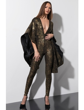 Dont Want To Know Dramatic Arm Snake Print Jumpsuit by Akira