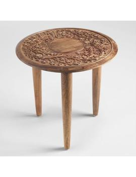 Round Wood Carved Floral Esmee Accent Table by World Market