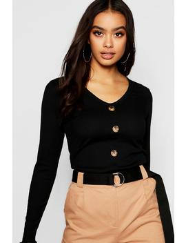 Lettuce Hem Horn Button Top by Boohoo