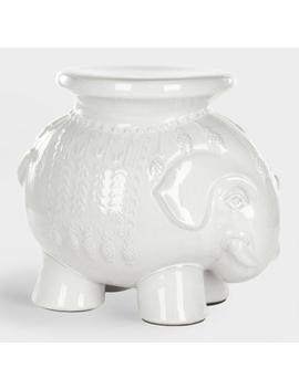 White Ceramic Elephant Stool by World Market