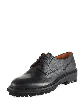 Men's Grained Leather Lug Sole Derby Shoes by Lanvin