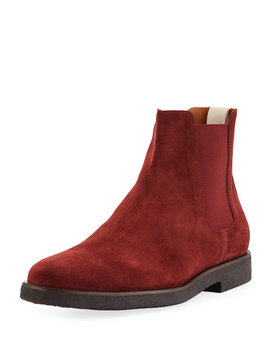 Men's Calf Suede Chelsea Boots, Red by Common Projects