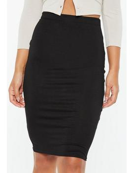 Black Basic Jersey Midi Skirt by Missguided