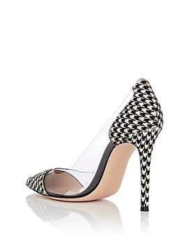 Plexi Houndstooth Print Calf Hair & Pvc Pumps by Gianvito Rossi