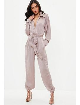 Pink Utility Satin Jumpsuit by Missguided