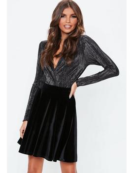 Black Velvet Skater Skirt by Missguided