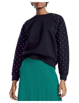 Tiller Studded & Quilted Sleeve Sweatshirt by Maje